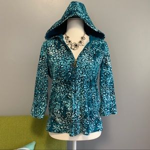 Oleg Cassini Blue Patterned Zip Hooded Sweatshirt